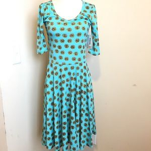 Lularoe Nicole Dress Blue Sunflower Print New